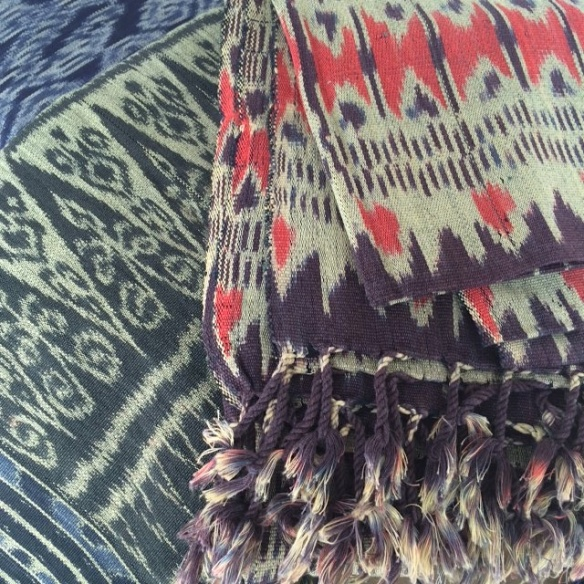 ikat with coral Heather Ross